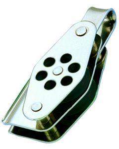 Poleas inox doble anilla con arraigo y mordedor Ø 4 a 6 mm