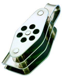 Poleas inox triple anilla con arraigo y mordedor Ø 4 a 6 mm